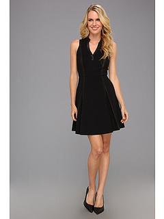 SALE! $99.99 - Save $295 on Rebecca Taylor Leather Panel Dress (Black) Apparel - 74.69% OFF $395.00