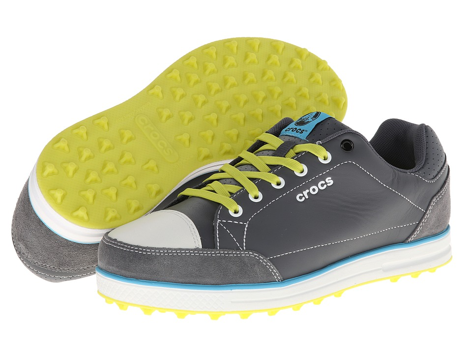 Crocs - Karlson Golf Shoe M (Charcoal/Citrus) Men's Shoes