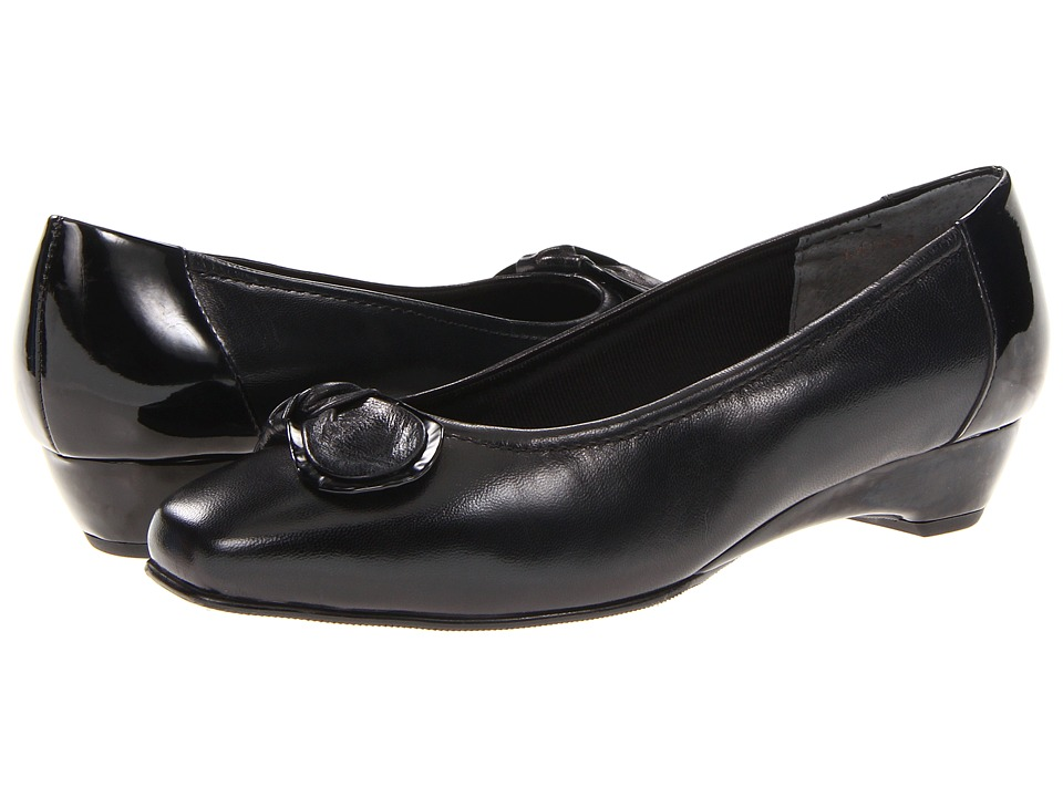 Rose Petals - Bean (Black Kid/Patent) Women's Slip on Shoes