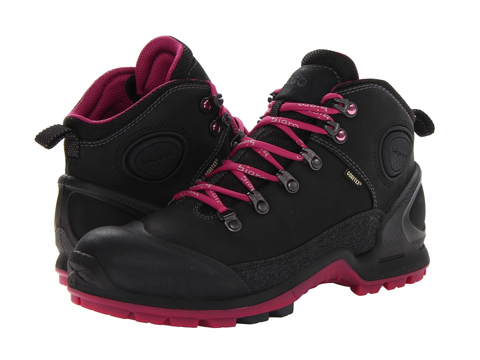 ECCO Sport - Akka Mid Plus GTX (Black/Black/Fucshia) Women's Hiking Boots