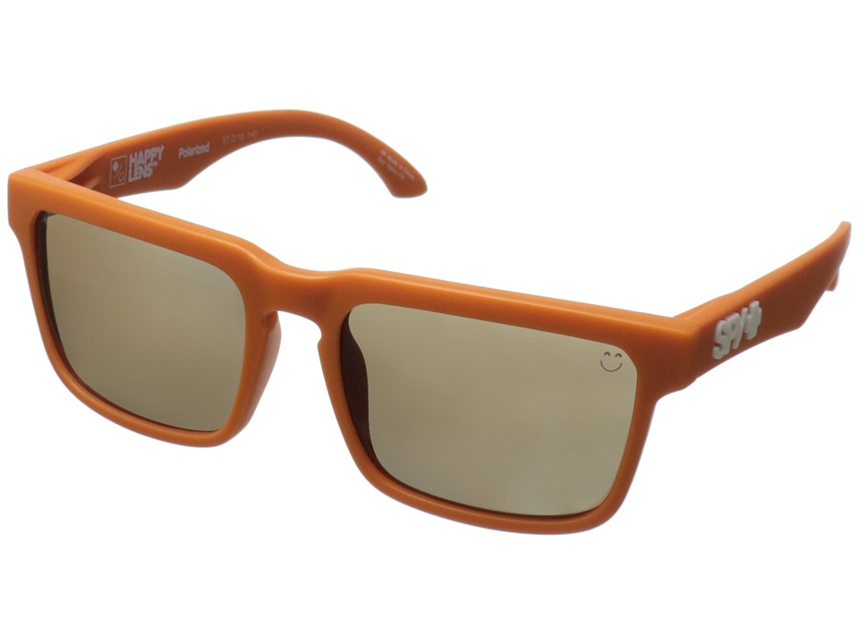 Spy Optic - Helm (Happy Lens) (Matte Orange-Happy Bronze Polar W/Black Mirror) Fashion Sunglasses