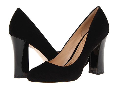 Cole Haan - Chelsea Hi Flared Heel (Black Suede/Patent) Women's Slip-on Dress Shoes