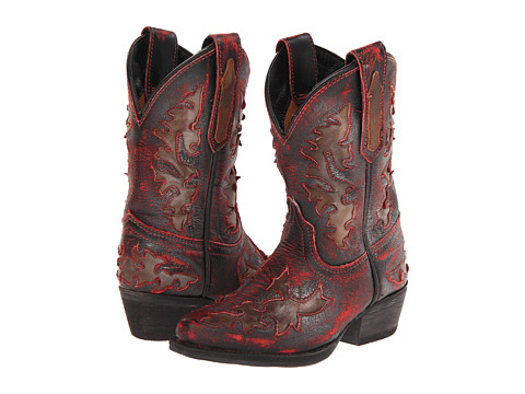 Dan Post Kids - Western Fashion (Toddler/Little Kid) (Child Red/Distressed/Fancy Underlays) Cowboy Boots