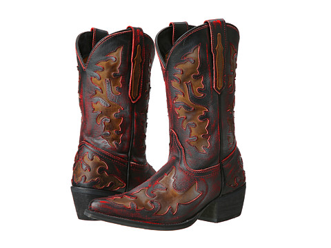 Dan Post Kids - Western Fashion (Big Kid) (Child Red/Distressed/Fancy Underlays) Cowboy Boots