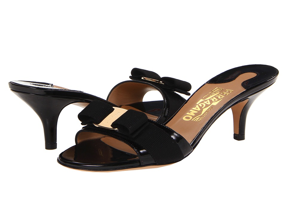 Salvatore Ferragamo - Patent Leather Kitten Heel Sandal (Nero Patent) Women's Dress Sandals
