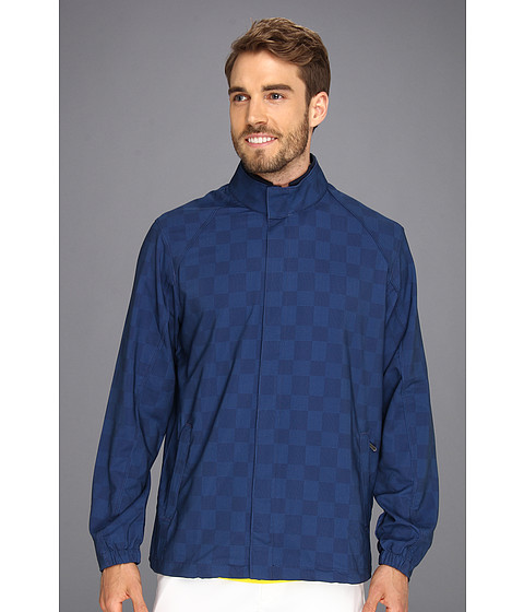 Ashworth - AM5031 Plaid Print Wind Jacket (Navy) Men