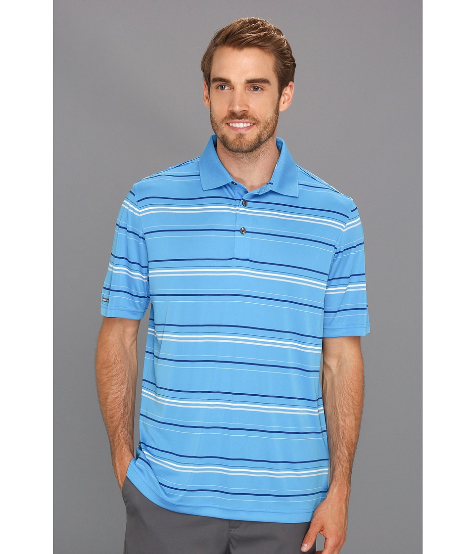 Image of Ashworth - AM3060 Performance Interlock Stripe Polo (Iceberg) Men's Short Sleeve Knit