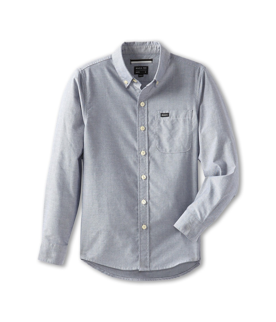 RVCA Kids - That'll Do Oxford (Big Kids) (Distant Blue) Boy's Long Sleeve Button Up