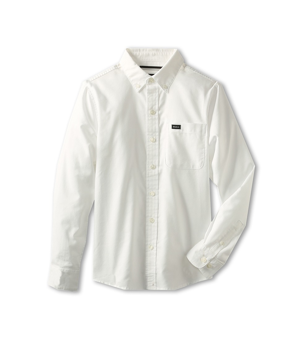 RVCA Kids - That'll Do Oxford (Big Kids) (White) Boy's Long Sleeve Button Up