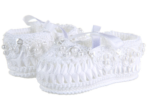 Jefferies Socks - Pearl Ribbon Bootie (Infant) (White) Girls Shoes