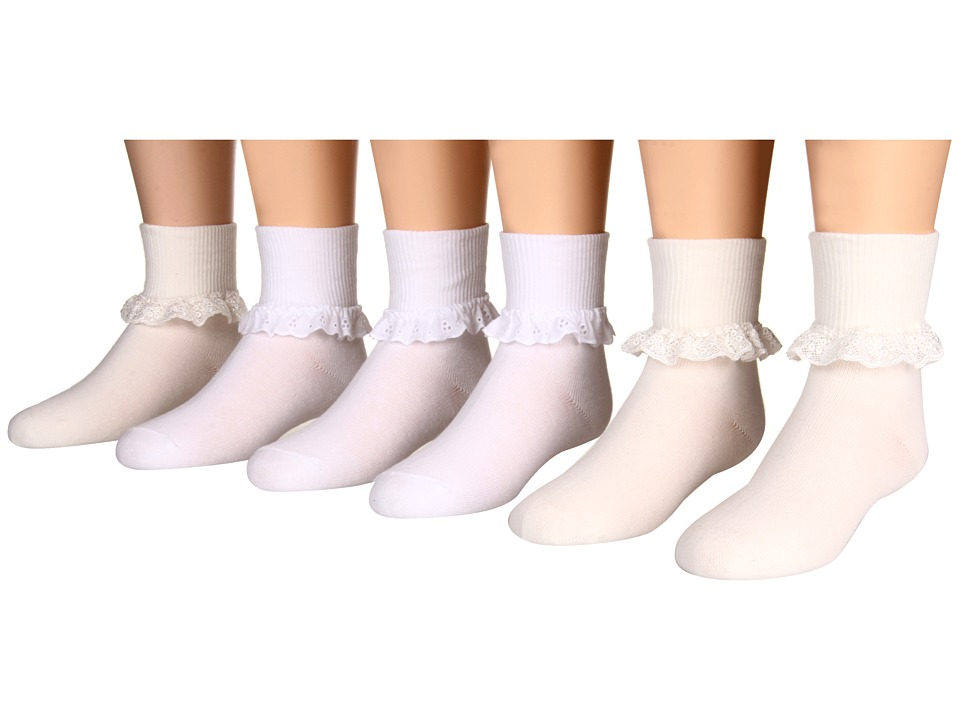 Jefferies Socks - Eyelet Lace and Chantilly Lace 6-Pack (Toddler/Little Kid/Big Kid) (Asst A (3) White (3) Pearl White) Girls Shoes
