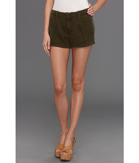 7 For All Mankind - Pleated Short in Olive Drapey Twill (Olive Drapey Twill) Women's Shorts