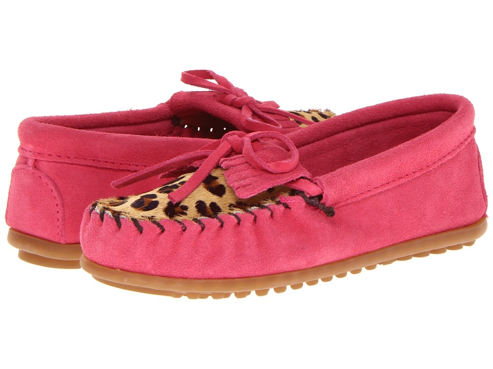 Minnetonka Kids - Leopard Kilty Moc (Toddler/Little Kid/Big Kid) (Hot Pink Suede) Girl's Shoes