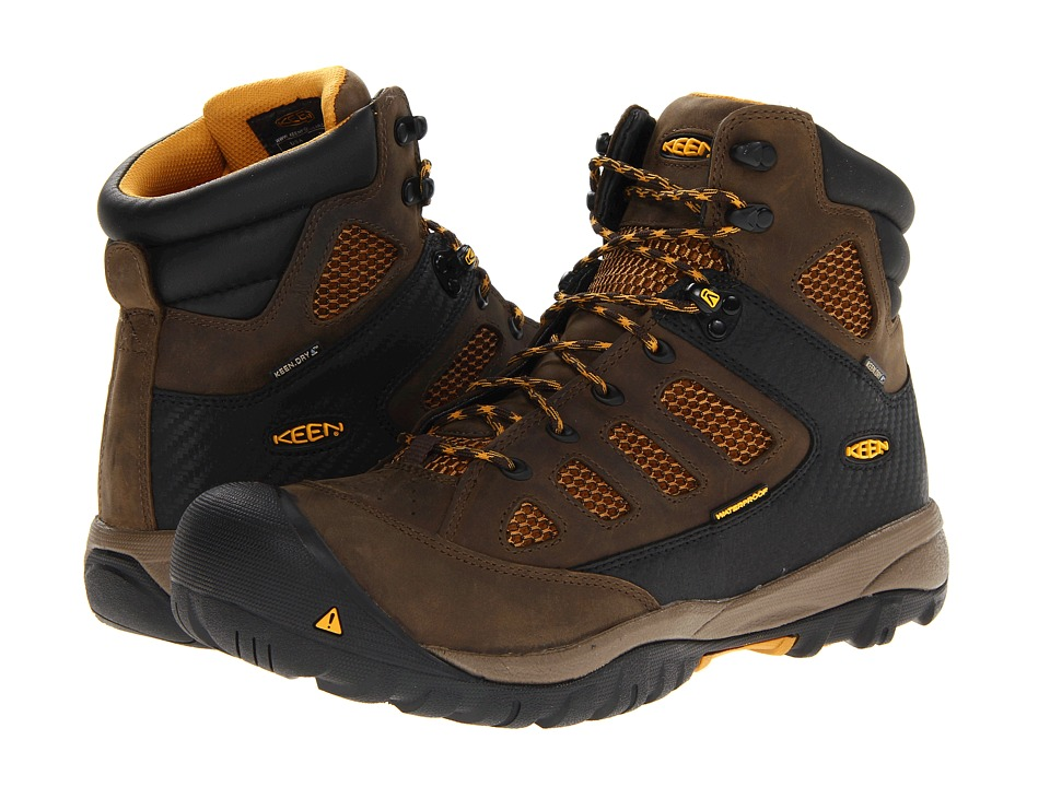 Keen Utility - Tucson Mid PR Soft Toe (Black Olive/Golden Yellow) Men's Work Lace-up Boots