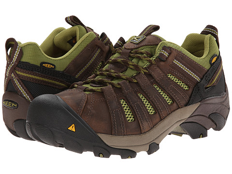 Keen Utility - Flint Low PR Soft Toe (Chocolate Brown/Woodbine) Women's Work Lace-up Boots