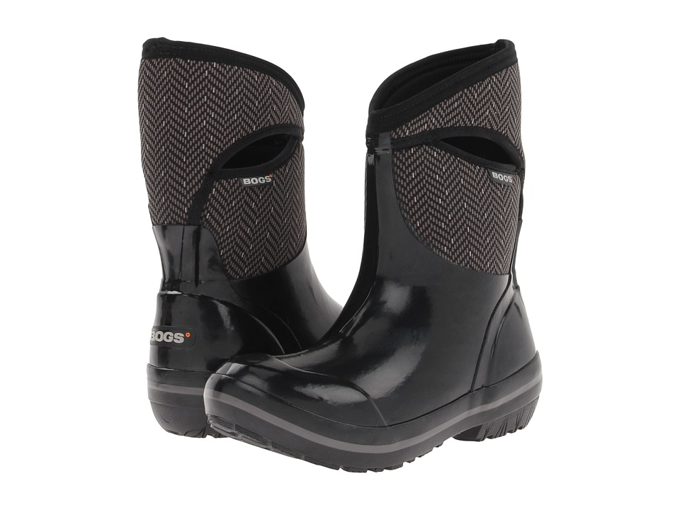 Bogs - Herringbone Mid (Black/Grey) Women's Waterproof Boots