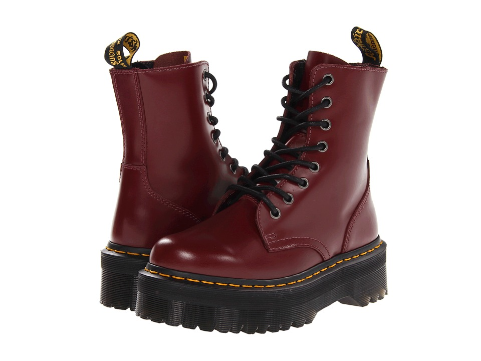 Dr. Martens - Jadon 8-Eye Boot (Cherry Red Polished Smooth) Lace-up Boots