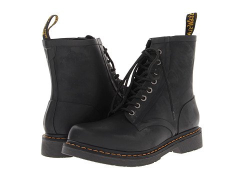 Dr. Martens - Drench 8-Eye Boot (Matt Black Vulcanised Rubber) Men