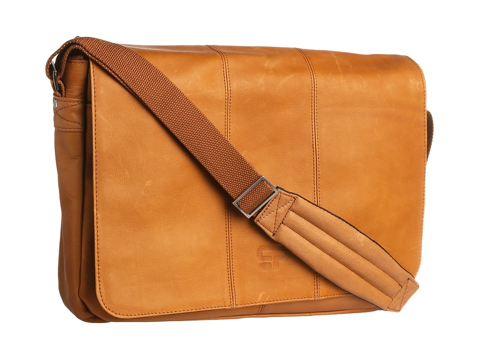 Culture Phit - Leather Flapover Computer Messenger Bag (Tan) Messenger Bags