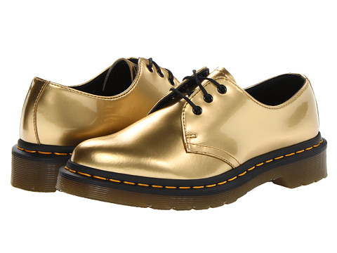 Dr. Martens 1461 3-Eye Shoe (Gold Spectra Patent) Women's Lace up casual Shoes