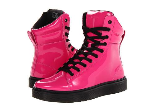 Dr. Martens Mix PC Hi Top (Hot Pink Patent Lamper) Women's Lace up casual Shoes