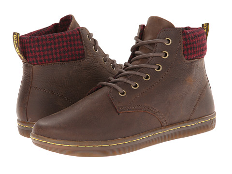 Dr. Martens - Maelly Padded Collar Boot (Dark Brown Wyoming/Oxblood+Black Micro Check Wool) Women's Lace-up Boots