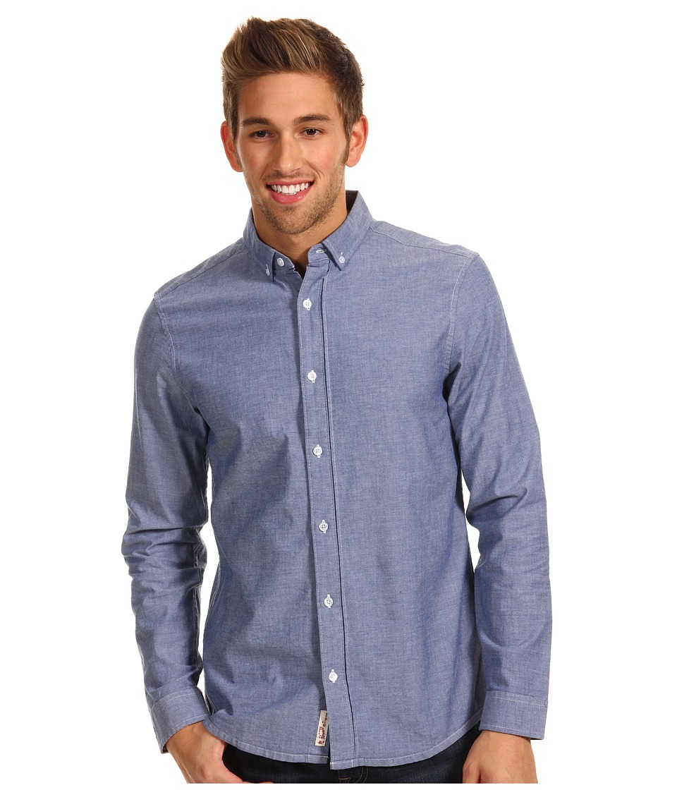 Original Penguin - L/S Basic Oxford w/ Gingham Trim (Estate Blue) Men's Long Sleeve Button Up
