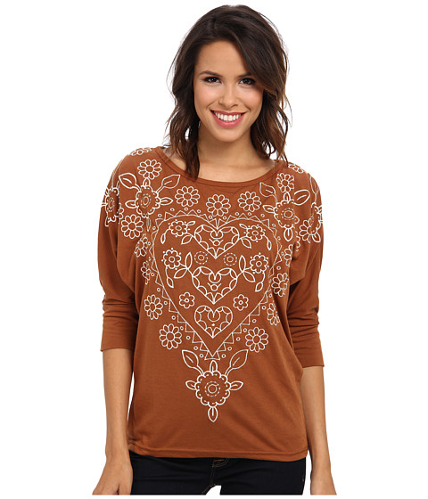Roper - Viscose Jersey Dolman Sleeve Knit (Brown) Women's T Shirt