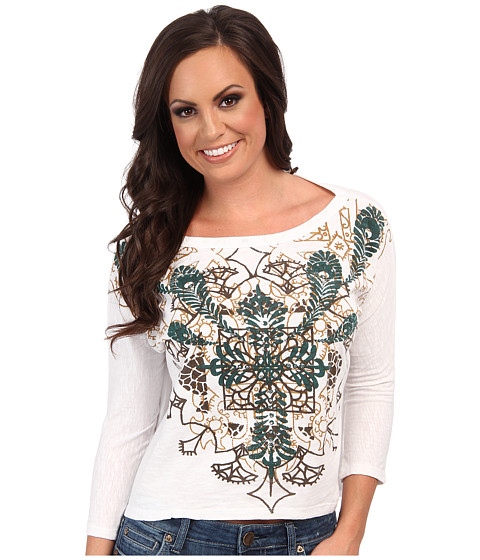 Roper - Boxy Tee W/Feather Cross Rhinestone (White) Women
