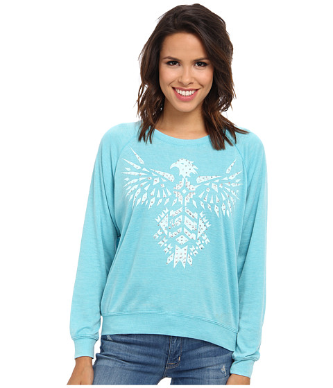 Roper - 8834 Burnout Thermal Raglan Sleeve (Blue) Women