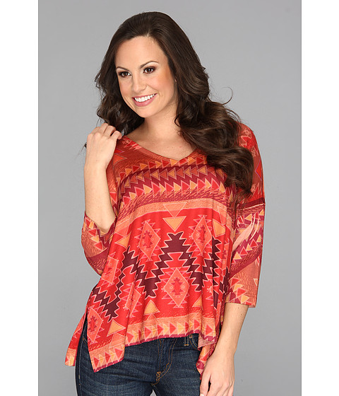Roper - 8833 Boxy V-Neck Sweater Jersey Top (Orange) Women