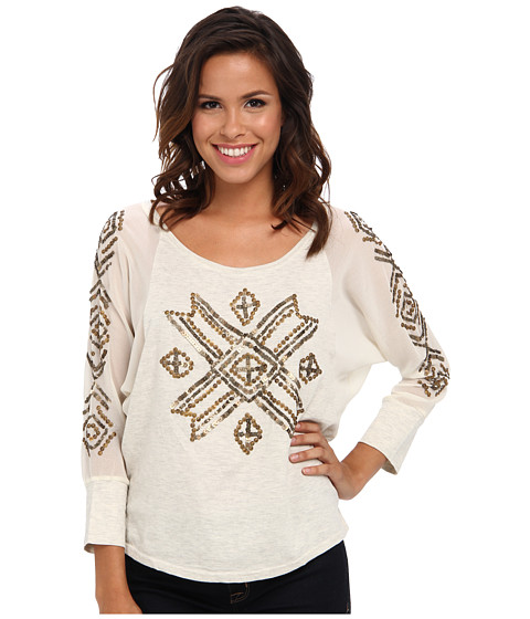 Roper - Dolman Sleeve Knit W/Block Sleeves (White) Women