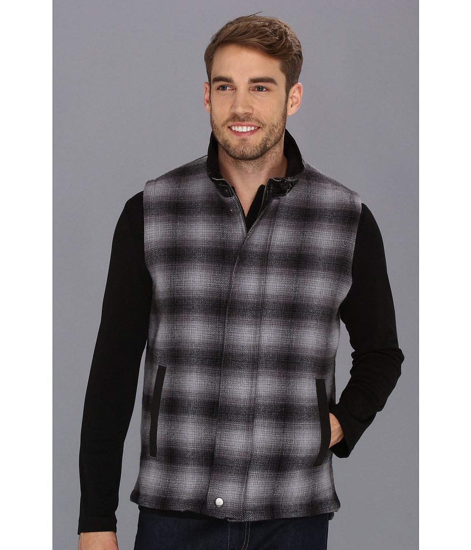 Stetson - 8949 Grey Wool Plaid Vest (Grey) Men's Vest