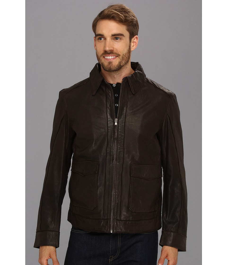 Stetson - Leather Jacket W/Patch Pockets (Brown) Men