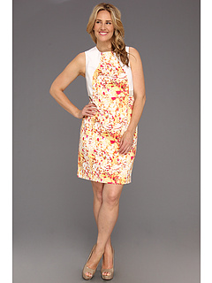 SALE! $46.99 - Save $83 on Calvin Klein Plus Size Abstract Floral Seamed Shift Dress (Soft White Multi) Apparel - 63.71% OFF $129.50