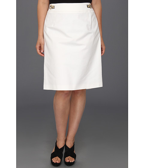 Calvin Klein - Plus Size Pencil Skirt w/ Hardware (Soft White) Women's Skirt