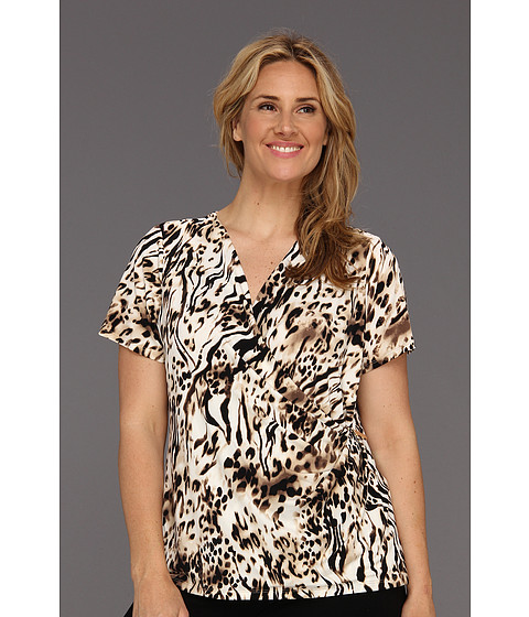 Calvin Klein - Plus Size Spotted Zebra Print V-Neck w/ Hardware (Black/Soft White Multi) Women's Short Sleeve Knit