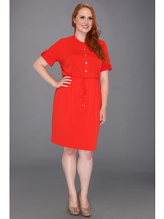 SALE! $61.99 - Save $48 on Calvin Klein Plus Size Solid Henley Dress (Tango Red) Apparel - 43.39% OFF $109.50