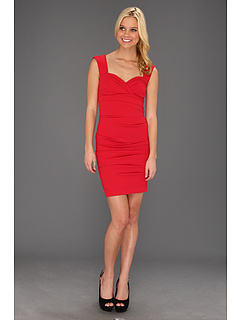 SALE! $116.99 - Save $268 on Nicole Miller Satin Crepe Tucked Dress (Cherry) Apparel - 69.61% OFF $385.00