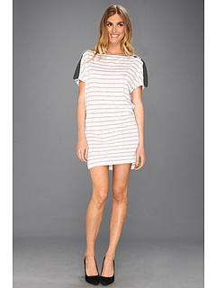 SALE! $39.99 - Save $88 on Michael Stars Stripe Dolman Leather Shoulder Dress (Heather Grey) Apparel - 68.76% OFF $128.00