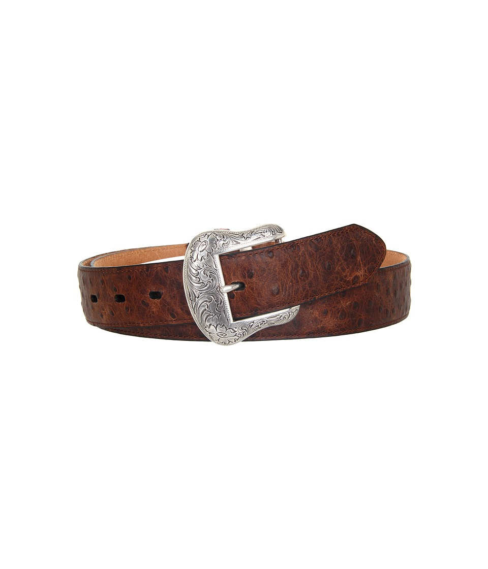 M&F Western - Vintage Ostrich Print Belt (Brown Ostrich Print) Men's Belts