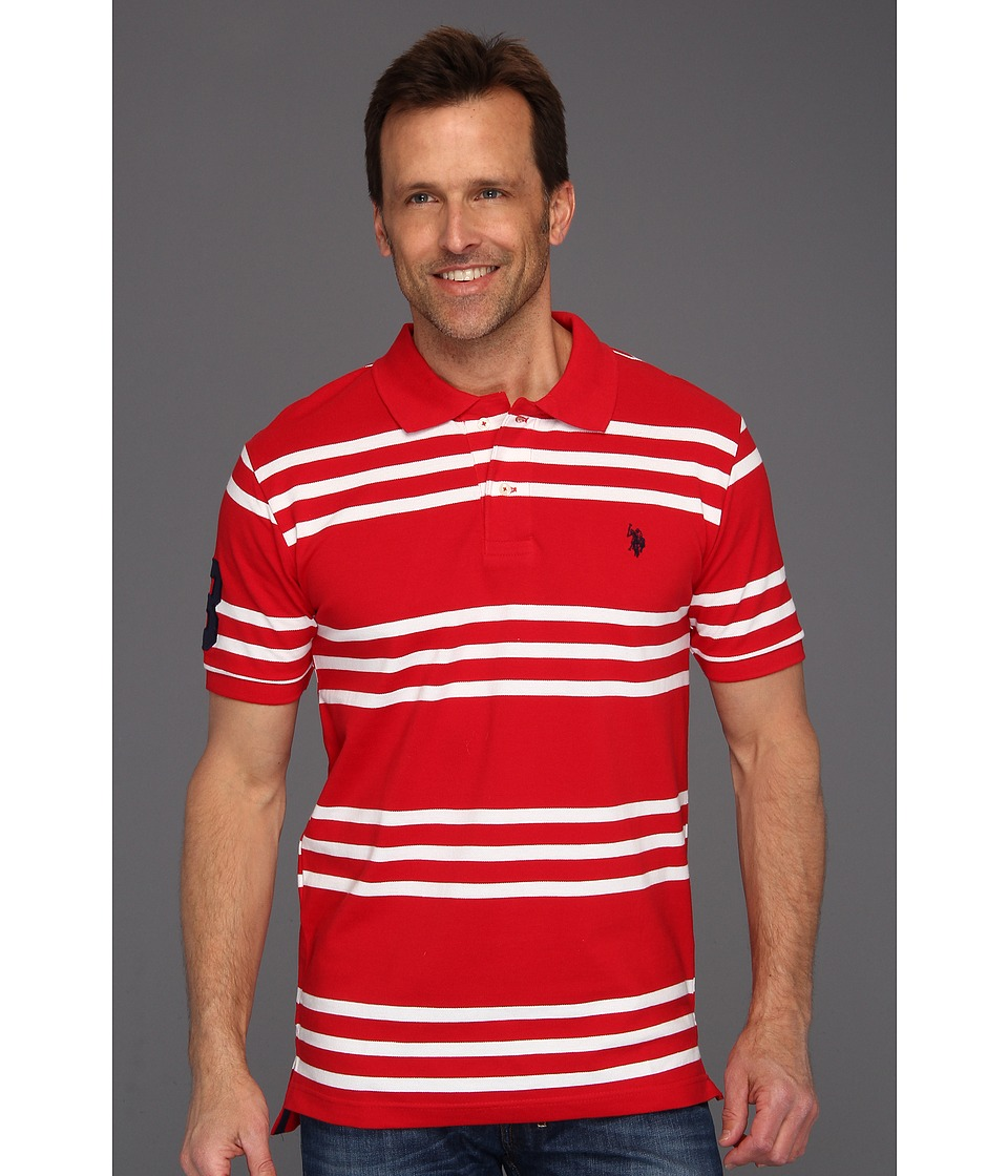 U.S. POLO ASSN. - Striped Polo with Small Pony (Engine Red) Men's Short Sleeve Knit
