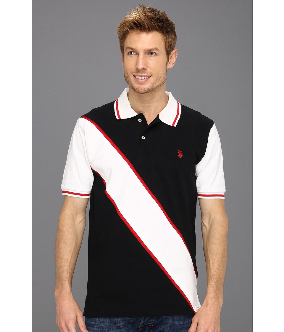 U.S. POLO ASSN. - Solid Polo with Contrast Color Piecing (Black) Men
