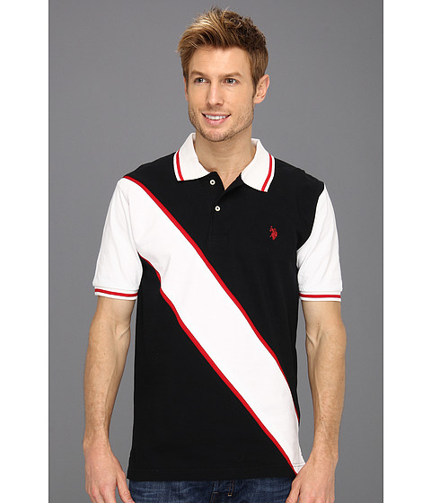 U.S. POLO ASSN. - Solid Polo with Contrast Color Piecing (Black) Men's Short Sleeve Knit