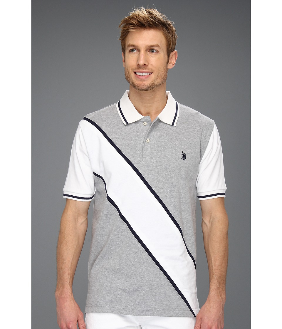 U.S. POLO ASSN. - Solid Polo with Contrast Color Piecing (Heather Grey) Men's Short Sleeve Knit
