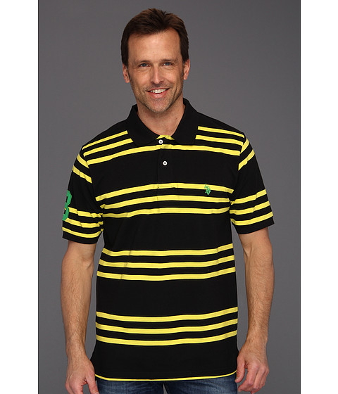U.S. POLO ASSN. - Striped Polo with Small Pony (Cyber Yellow/Navy) Men's Short Sleeve Knit