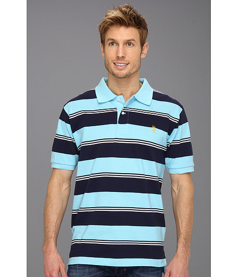 U.S. POLO ASSN. - Yarn Dyed Striped Pique Polo (Horizon Blue/Navy) Men's Short Sleeve Knit