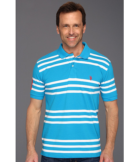 U.S. POLO ASSN. - Striped Polo with Small Pony (Teal Blue/White) Men