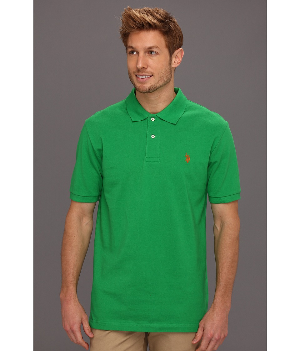U.S. POLO ASSN. - Solid Polo with Small Pony (Cactus Flower/Orange Popsicle) Men's Short Sleeve Knit