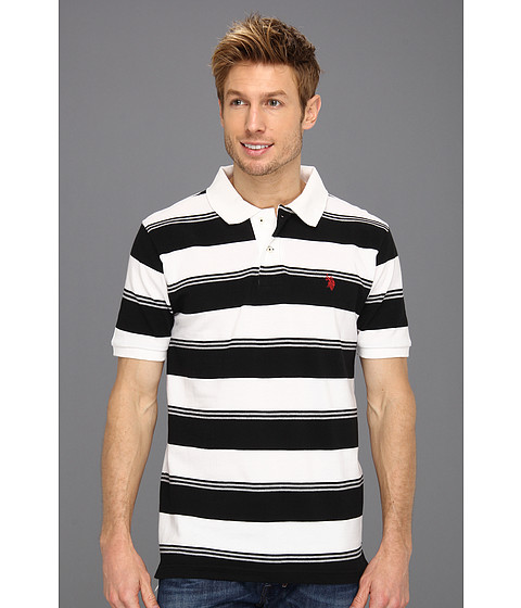 U.S. POLO ASSN. - Yarn Dyed Striped Pique Polo (Black/White) Men